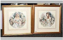 Gordon King Pencil Signed Limited Edition Fine Art Colour Pair Of Prints Nu