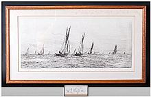 William Lionel Wyllie 1851-1931, Signed Black & White Etching Titled 'Ryde