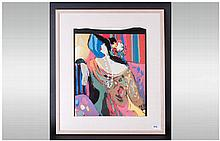 Contemporary Framed Print, Titled 'Jessica' by Maimon mounted and behind gl
