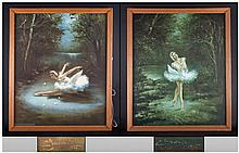 Pair Of Framed Prints Of Ballerinas Le Cygne, Showing Alicia Markova in the