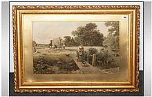 Coloured Print In Gilt Gesso Frame, Glazed depicting an Idyllic country sce