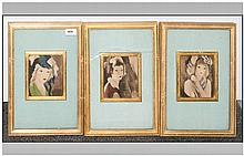 Set Of Three Decorative Prints In Gilt Frames After Marie Laurencin, French
