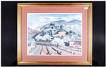 Yves Brayer Colour Print 1907-1990 French Impressionist Painter Titled 'Opp