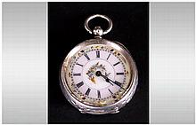 Swiss - Ladies Fine and Ornate Silver Key-wind Open - Faced Engraved Pocket