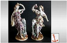 Samson Very Fine Pair of Hand Painted Porcelain Figures, In The Chelsea Sty