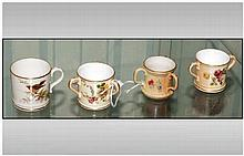 Royal Worcester Hand Painted Miniature Blush Ivory Two and Three Handle Cup