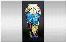 Moorcroft Fine Modern Vase Blue, Purple and Green Leaf's Design. Date 2003.
