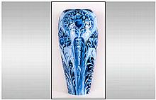 William Moorcroft Signed and Impressive Florian Ware Tall Vase ' Peacock '