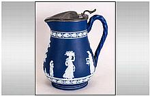 Blue and White Jasper Ware Pewter Lidded Jug stamped to the base BP & Co, E