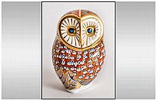 Royal Crown Derby Paperweight ' Barn Owl ' Heart Shaped Face, Colour way Br