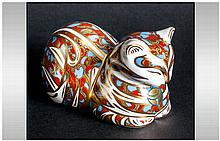 Royal Crown Derby Paperweight ' Contented Cat ' Red and Pale Blue, Gold Sto