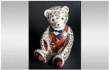 Royal Crown Derby Ltd Edition Paperweight ' Teddy Bear ' Blue Bow Tie, Red