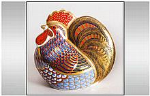 Royal Crown Derby Paperweight Cockerel Red and Gold Intricate Leather Desig