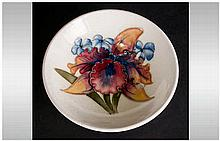 Moorcroft Small Footed Dish ' Orchids ' Design on Cream Ground. 4.25 Inches