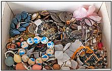 Box of Assorted Costume Jewellery comprising beads, brooches, necklaces and