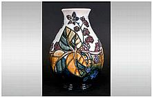 Moorcroft Bulbous Black Berries and Briar Rose Vase. Marked to Base. Excell