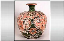 William Moorcroft Signed Florian Ware Globular Shaped Vase, Salmon Pink Col