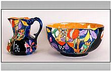 Corona Ware Hand Painted Lustre Jug and bowl 'Cremorne', Designed by Molly