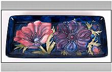 Moorcroft Rectangle Shaped Pen Tray ' Anemone ' Design on Blue Ground. c.19