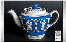 Dudson - Jasper ware 19th Century Small Teapot. c.1890's. Marked to Base, D