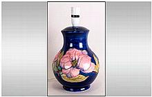 Moorcroft Fine Hand Painted Large Lamp Base, Pink Magnolia Design on Blue G