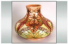 William Moorcroft Signed Large Onion Shaped Squat Vase, Styalised Leaf Desi