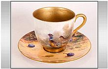 Royal Worcester Hand Painted Miniature Cup & Saucer, Pheasant Cup Signed Ja