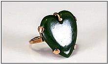 A Vintage 18ct Gold Set - Fine and Heart Shaped Jade Ring. Marked 18ct.