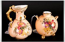 Royal Worcester Hand Painted Blush Ivory Vases, with Floral Decoration and