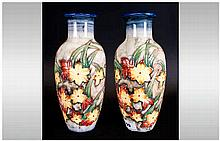 Old Tupton Ware Pair of Tubelined Moorcroft Style Vases, Decorated with Ima