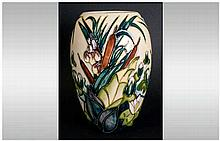 Moorcroft Tube Lined Vase 'Lania Bullbrushes' Pattern. 7.25'' in height. Ex
