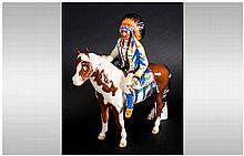 Beswick Horse and Rider Figure ' Mounted Indian' Model Num.1391. Designer M