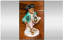 Dresdon - 19th Century Porcelain Monkey Band Figure, Unmarked. Stands 4.75