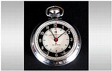Ingersoll Triumph - Vintage Chrome Cased Open Faced Pocket Watch. Black Cha