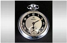 Services - Vintage Chrome Cased Open Faced Pocket Watch, White Dial with Gr