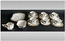 Shelley Art Deco 20 Piece Tea Service ' Fruit Border ' Pattern Number 11563