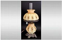 Continental Glass Lamp Decorated With Flowers With A Bulbous Body and match