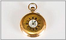 18ct Gold Demi Hunter Pocket Watch, White Enamelled Dial With Roman Numeral