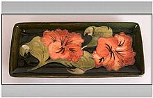 Moorcroft Rectangle Shaped Pin Tray 'Coral Hibiscus' On Green Ground, 8'' i