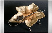 Royal Worcester Blush Ivory Leaf Dish, Raised on a Silver Plated Naturalist