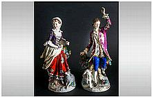 SItzendorf Very Fine Pair of Hand Painted Porcelain Figures, Dressed In 19t