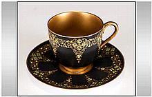 Royal Worcester Very Fine Hand Decorated Miniature Cup and Saucer, Black wi