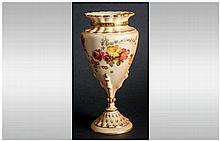 Royal Worcester Hand Painted Blush Ivory Vase of Good Quality, Decorated wi