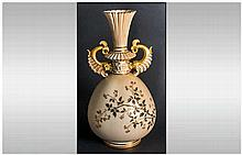 Royal Worcester Hand Painted and Fine Blush Ivory and Gold Two Handled Vase