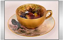 Royal Worcester Handpainted Miniature Matched Cup & Saucer, 'Fallen Fruits'