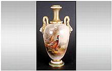 Royal Worcester Hand Painted and Signed Two Handle Mask Vase ' Pheasant In