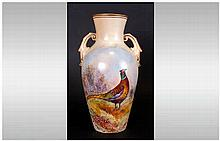 Locke & Co Worcester Hand Painted Two Handle Vase, Pheasant In a Woodland S