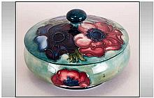 Moorcroft Lidded Round Powder Bowl ' Blue Anemone ' 2.75 Inches High, 4.5 I