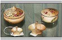 Royal Worcester Hand Painted Blush Ivory Lidded Trinket Jars ( 2 ) In Total