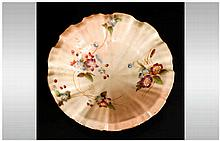 Royal Worcester Hand Painted Blush Ivory Shell Shaped Footed Dish. Date 190